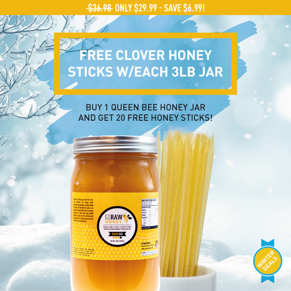 free honey sticks with 3lb jar